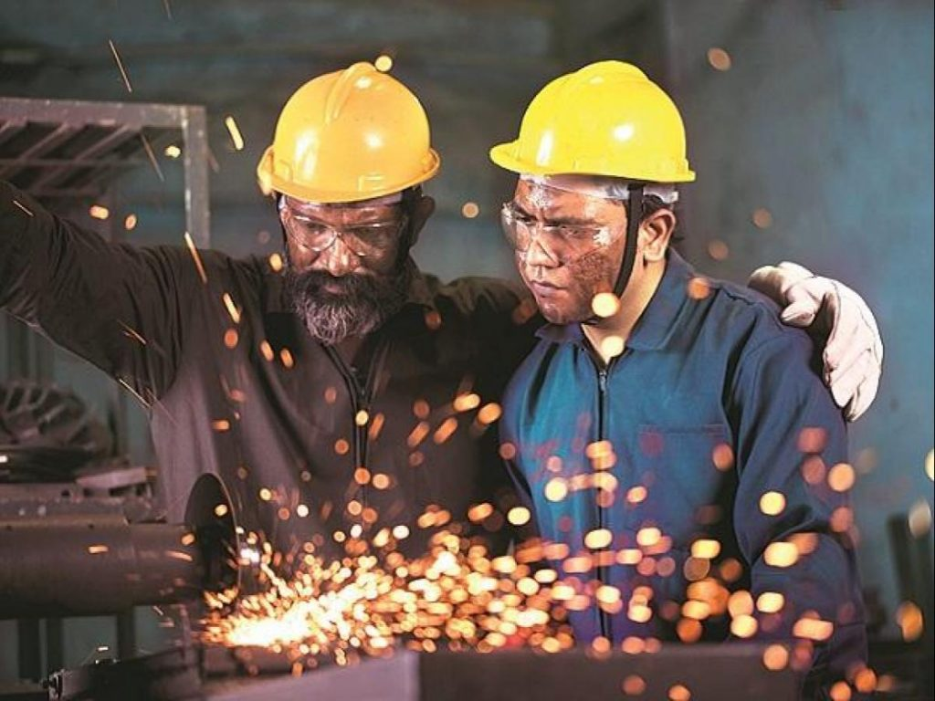 Two People Welding With Sparks Flying - Domestic Manufacturing SWS Warning Lights